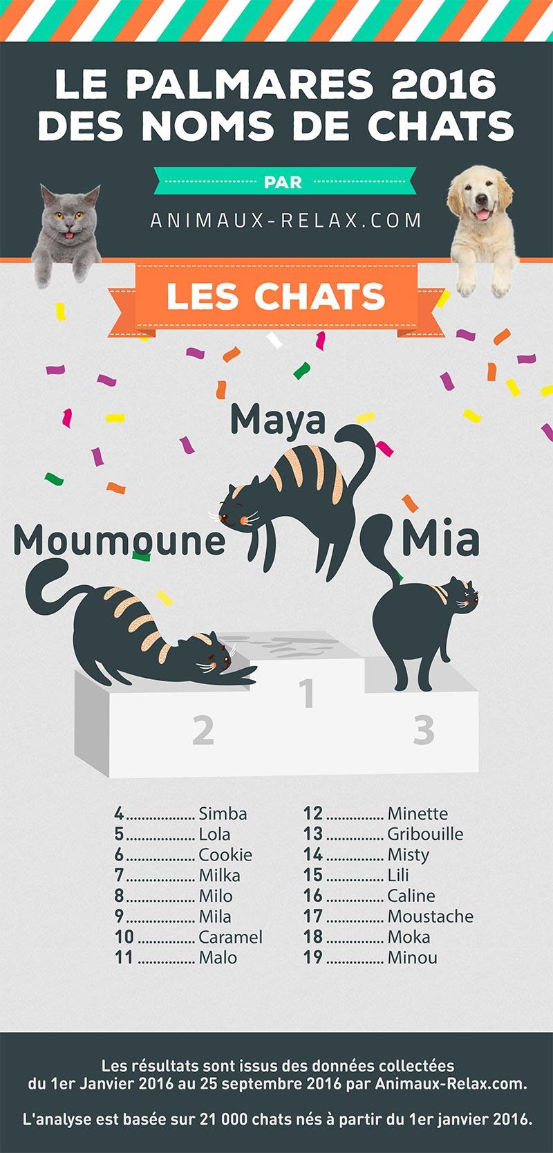 Palmarès des noms de chat en 2016